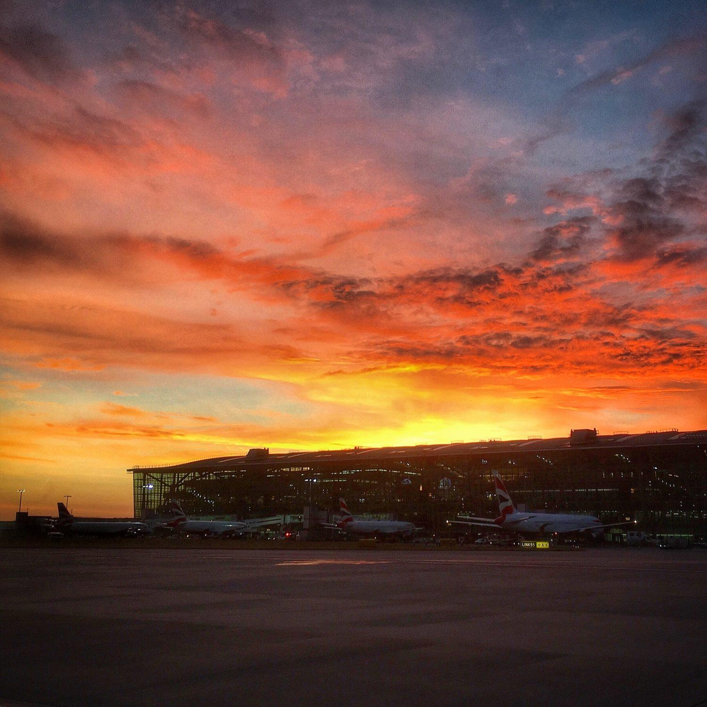 Shift work sunset over Heathrow T5