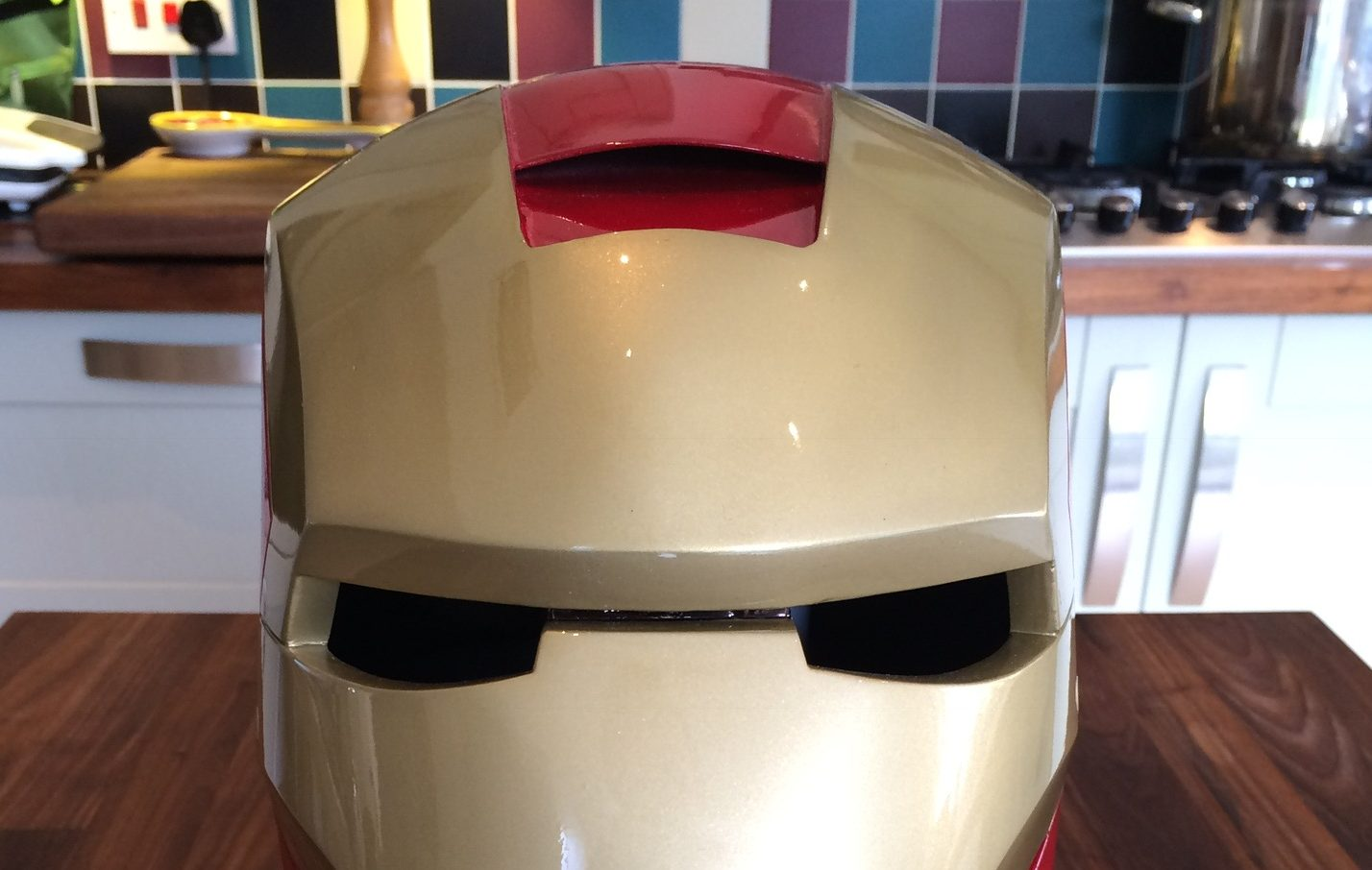 Close up of Iron Man helmet