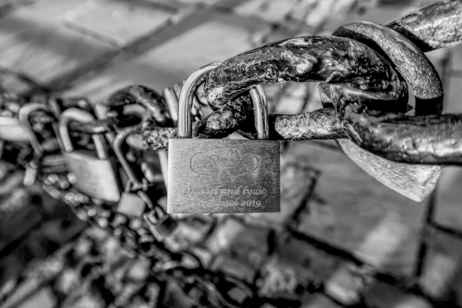 Love lock padlocks at Albert Dock, Liverpool.