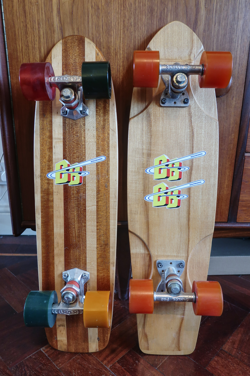 Two Benjyboard 1970's skateboards
