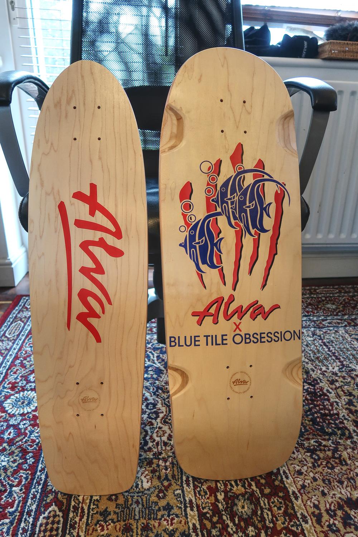 Two Alva skateboard decks