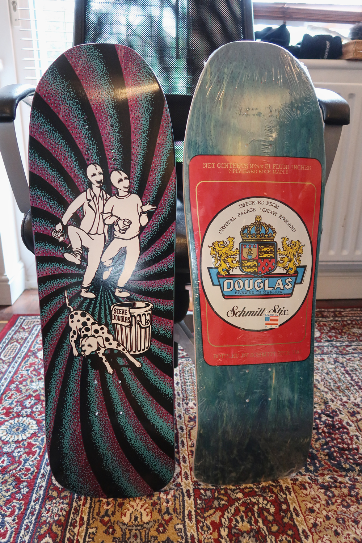 Two Schmitt Stix Steve Douglas skateboard decks
