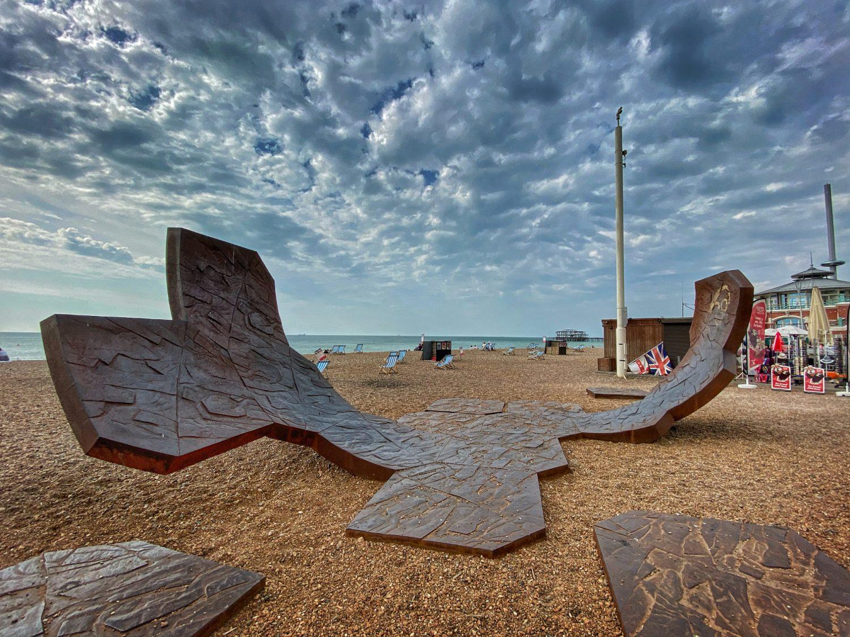Beach art halfpipe on Brighton Beach