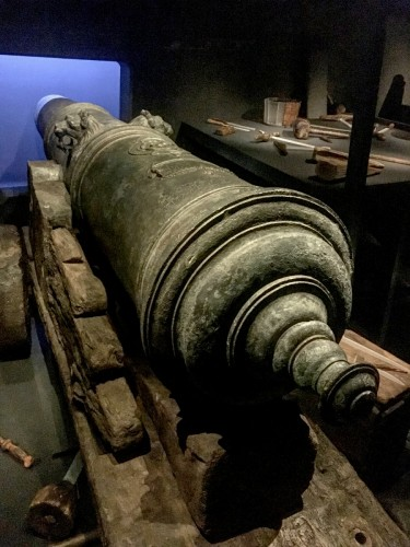 One of the recovered cannons.